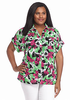 Kim Rogers Plus Size Printed Button Down Shirt