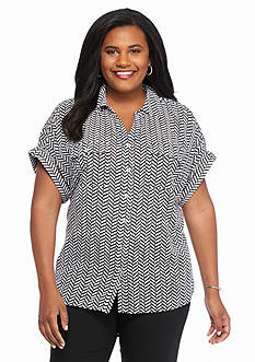 Kim Rogers Plus Size Printed Button Down Shirt