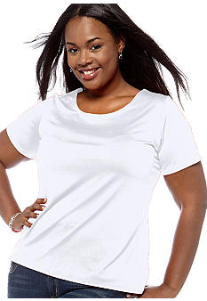 Kim Rogers Plus Size Solid Short Sleeve Woven Top