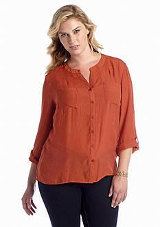 Kim Rogers® Plus Size Embellished Neckline Blouse