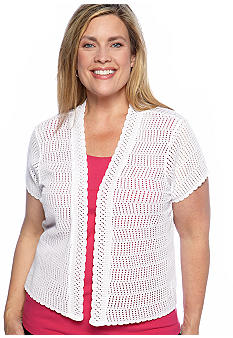 Kim Rogers Plus Size Solid Short Sleeve Ruffle Shrug