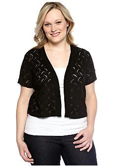 Kim Rogers Plus Size Cap Sleeve Open Front Shrug