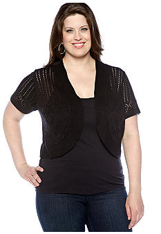 Kim Rogers Plus Size Cap Sleeve Pointelle Shrug