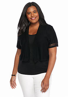 Kim Rogers Plus Size Solid Pointelle Shrug