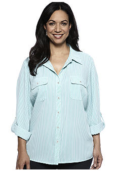 Kim Rogers Plus Size Vertical Stripe Blouse