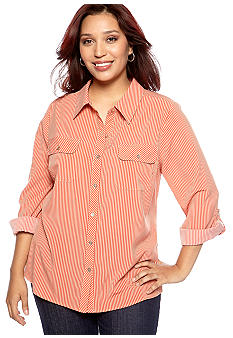 Kim Rogers® Plus Size Vertical Stripe Blouse