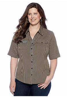Kim Rogers Plus Size Vertical Stripe Utility Shirt