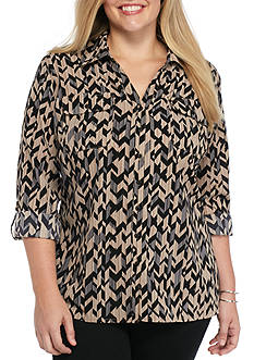 Kim Rogers Plus Size Striped Camp Shirt
