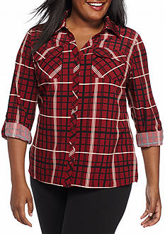 Kim Rogers Plus Size Plaid Print Camp Shirt