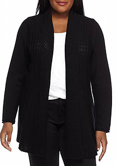 Kim Rogers Plus Size Fanstitch Knit Cardigan