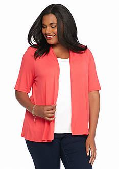 Kim Rogers Plus Size Solid Cozy Knit Cardigan