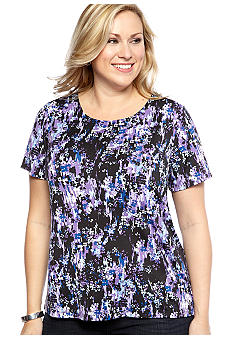 Kim Rogers Plus Size Printed Short Sleeve Knit Top