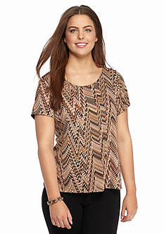Kim Rogers Plus Size Printed Knit Shell Top