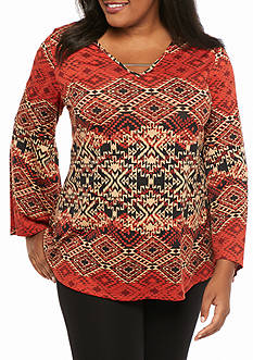 Kim Rogers Plus Size Bell Sleeve Hi-Low Knit Top