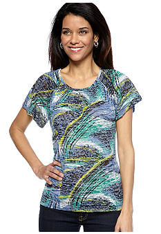 Kim Rogers Petite Short Sleeve Burnout Peasant Top