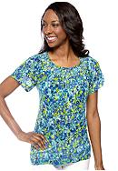 Kim Rogers® Short Sleeve Daisy Printed Peasant Top