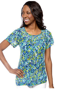 Kim Rogers Short Sleeve Daisy Printed Peasant Top