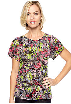 Kim Rogers Short Sleeve Peasant Brush Stroke Print Top