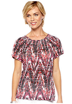 Kim Rogers Short Sleeve Burnout Zig Zag Top