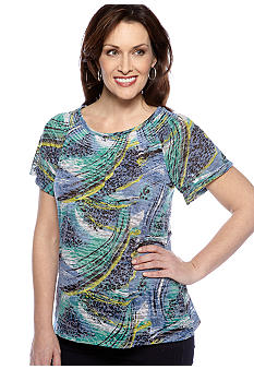 Kim Rogers Short Sleeve Peasant Burnout Swirl