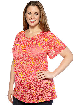 Kim Rogers Plus Size Wavy Skin Burnout Peasant Top