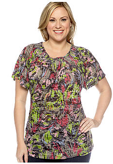 Kim Rogers Plus Size Brushstroke Burnout Peasant Top