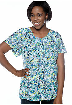 Kim Rogers Plus Size Floral Bouquet Burnout Peasant Top