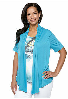 Kim Rogers Plus Size Printed Insert Layered Knit Top