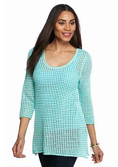 Jeanne Pierre Open Knit Shark-Bite Sweater