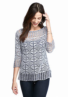 Jeanne Pierre Open Knit Sweater