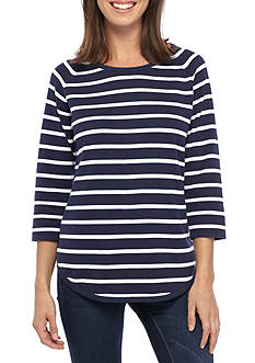 Jeanne Pierre Striped Fine Gauge Sweater