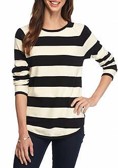 Jeanne Pierre Fine Gauge Stripe Pullover Sweater