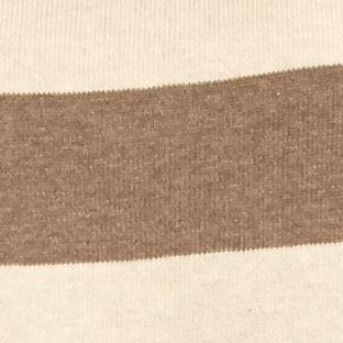 Statements: Jeanne Pierre: Tan Heather/Light Brown Jeanne Pierre Fine Gauge Stripe Pullover Sweater
