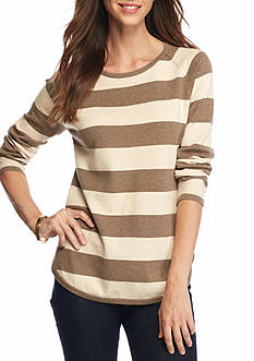 Jeanne Pierre Fine Gauge Stripe Pullover Sweater