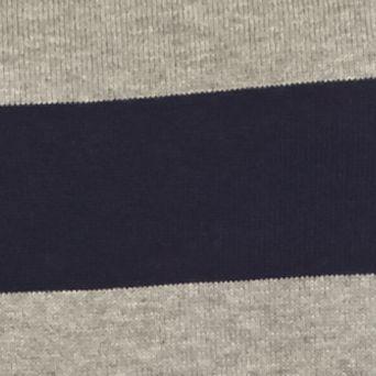 Jeanne Pierre: Ink/Flannel Heather Jeanne Pierre Fine Gauge Stripe Pullover Sweater