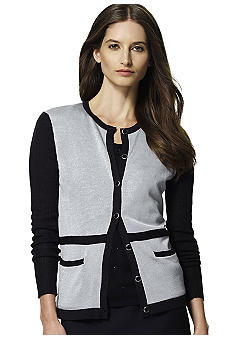 Jones New York Collection Three-Quarter Sleeve Contrast Trim Cardigan