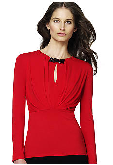 Jones New York Collection Petite Long Sleeve Jewel Neck Pleated Top
