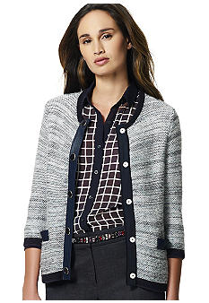 Jones New York Collection 3/4 Sleeve Leather Trim Cardigan