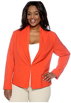 Jones New York Collection Plus Size Lip Collar Jacket