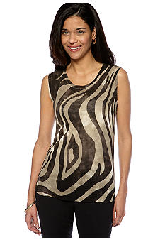 Jones New York Collection Petite Animal Print Shell