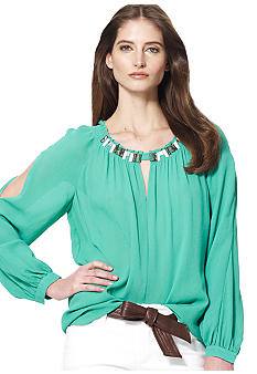 Jones New York Collection Petite Blouse With Embellished Neckline