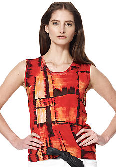Jones New York Collection Petite Printed Shell Top