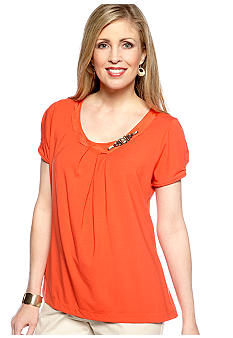 Jones New York Collection Cap Sleeve Scoop Neck Top