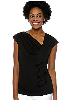 Jones New York Collection Ruffle Front Shell