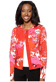 Jones New York Collection Petite Floral Print Jacket with Grosgrain Embellishment