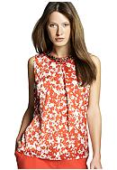 Jones New York Collection Floral Print Pleated Shell Top