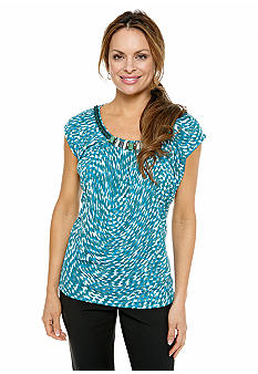 Jones New York Collection Petite Top With Embellished Neckline