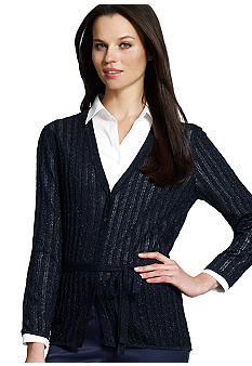 Jones New York Collection Long Sleeve V Neck Belted Cardigan