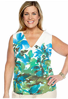 Jones New York Collection Plus Size Printed Shell