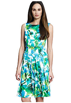 Jones New York Collection Floral Pleated Boatneck Dress